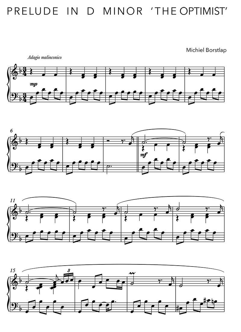 Sheet Music - Michiel Borstlap - Prelude in D Minor - The Optimist - (download)